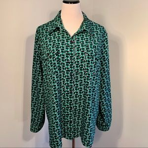 Notations Green and Blue Button Down Top Sz 3X